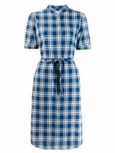 A.P.C. plaid short-sleeve shirt dress - Blue