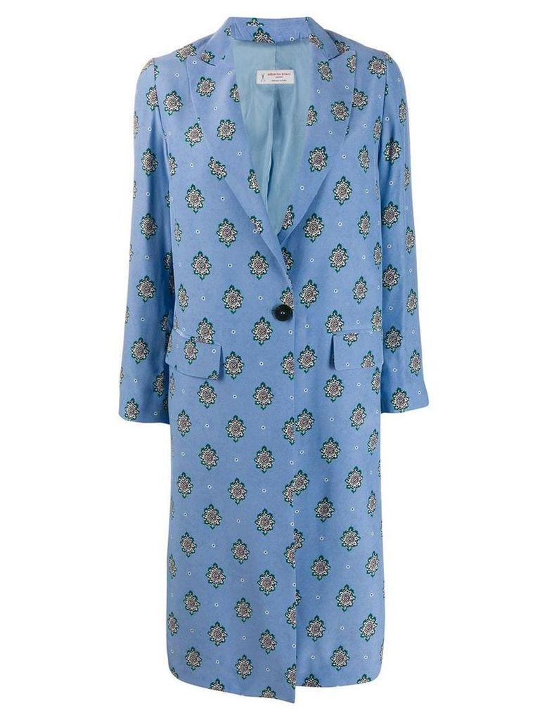 Alberto Biani diamond pattern coat - Blue