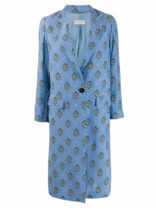 Alberto Biani diamond pattern coat - Blue