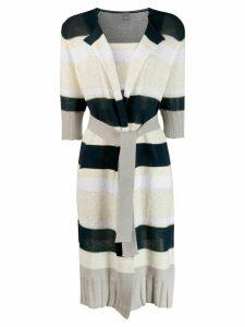 Lorena Antoniazzi striped cardi-coat - Blue