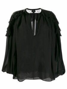 Giambattista Valli v-neck ruffled blouse - Black