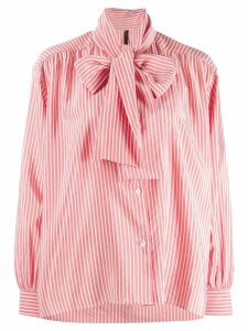 Unravel Project pussy bow striped shirt - Red
