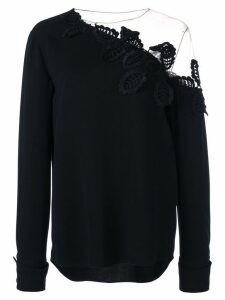 Oscar de la Renta embroidered off shoulder blouse - Black