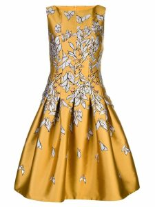 Oscar de la Renta floral print flared dress - Gold