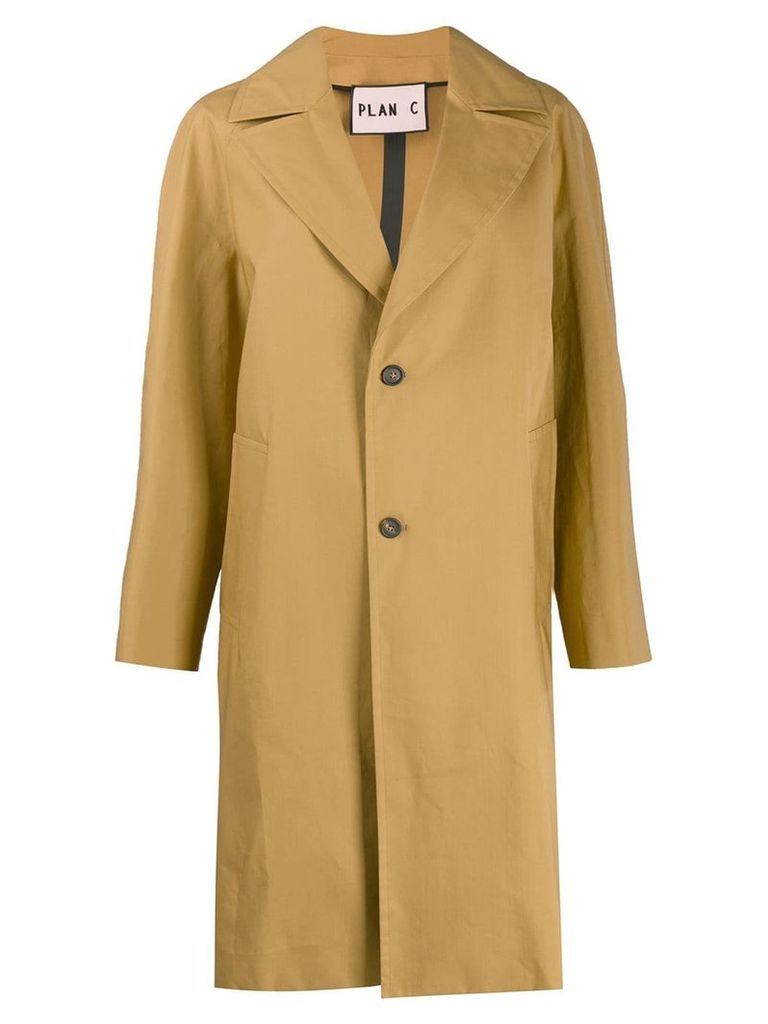 Plan C single-breasted coat - Neutrals