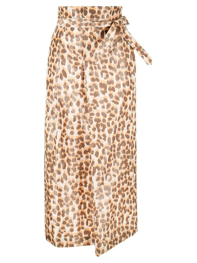 Rochas front knot straight skirt - Brown