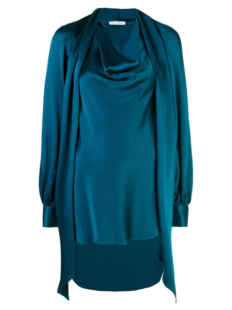 Oscar de la Renta cowl neck blouse - Blue