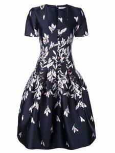 Oscar de la Renta floral embroidered midi dress - Blue