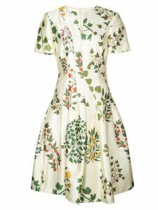 Oscar de la Renta floral print flared dress - White