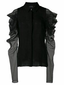 Cushnie ruffled sleeve blouse - Black
