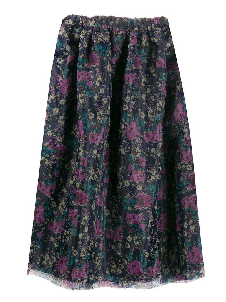 Plan C floral print midi skirt - Purple