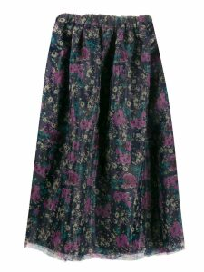 Plan C floral print midi skirt - Purple