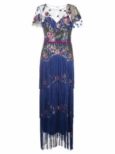 Marchesa Notte tiered fringe evening gown - Blue