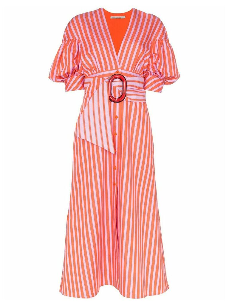 Silvia Tcherassi Wembley puff-sleeve striped dress - Pink