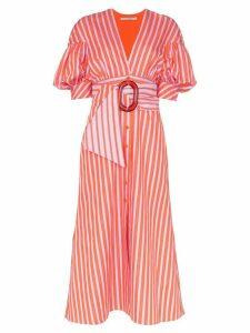 Silvia Tcherassi Wembley puff-sleeve striped dress - Pink