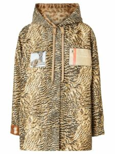 Burberry Tiger Print Lightweight Hooded Jacket - Brown