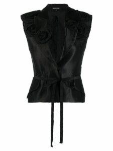Ann Demeulemeester floral appliqués waistcoat - Black