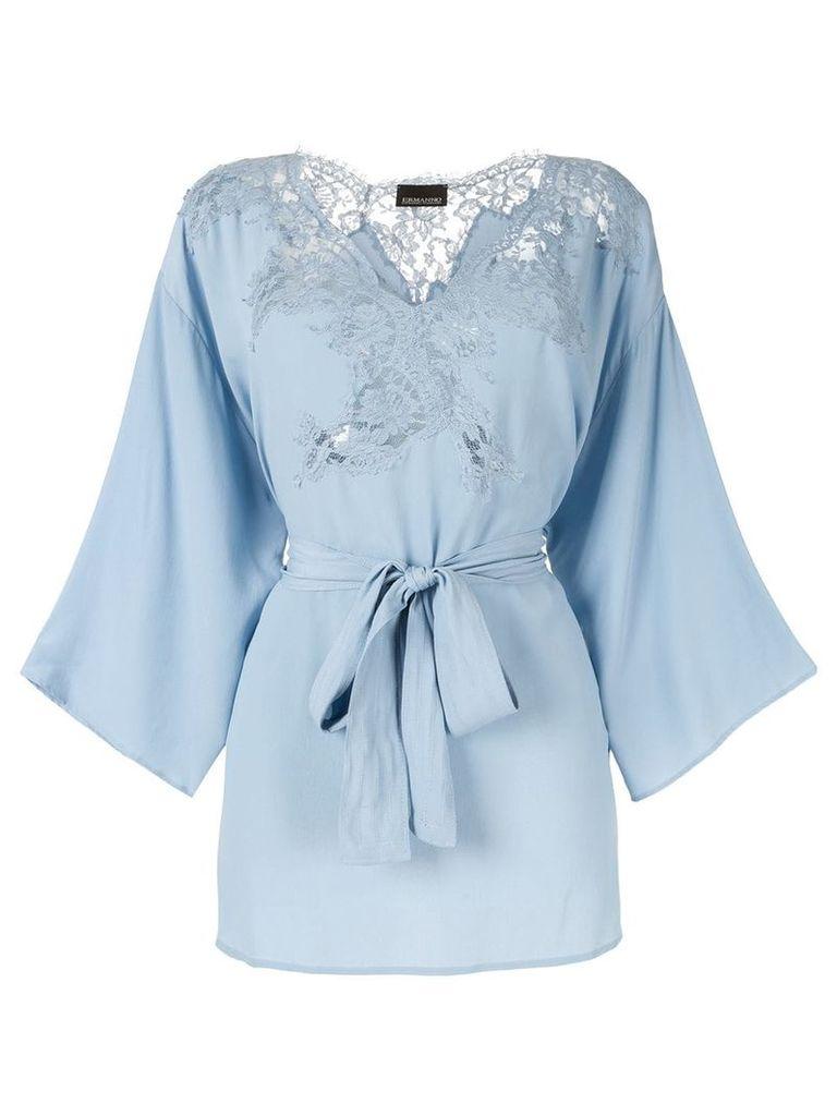 Ermanno Scervino lace-panelled crepe top - Blue