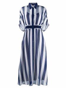 Sport Max Code long striped shirt dress - Blue