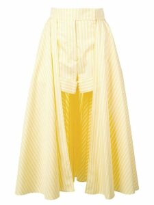 Sara Battaglia striped skirt shorts - Yellow