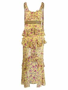 For Love And Lemons floral print layered dress - Yellow