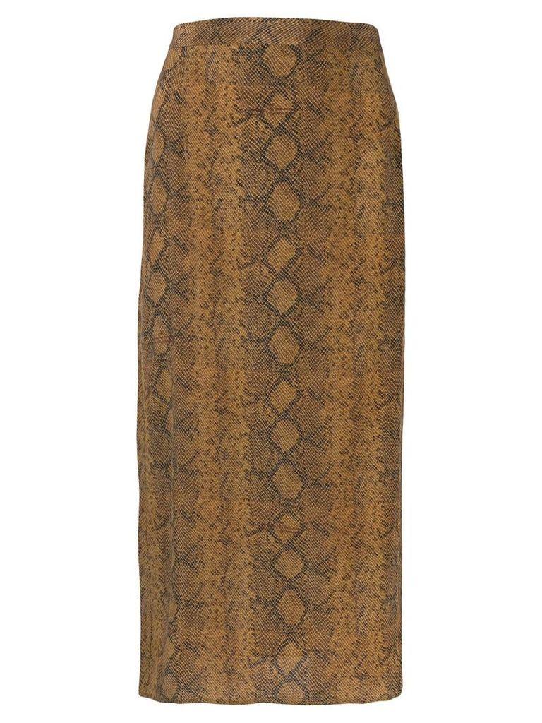 Rokh snakeskin print skirt - Brown