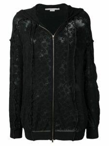 Stella McCartney floral mesh zip-front hoodie - Black