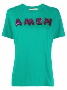 Amen sequin logo T-shirt - Green