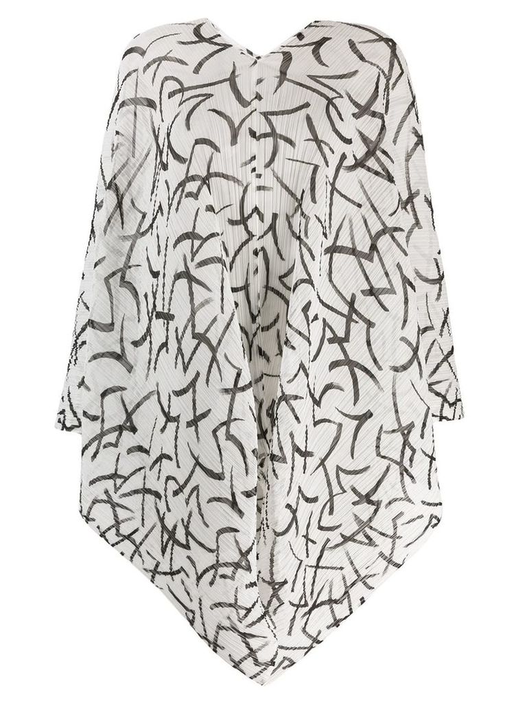Pleats Please By Issey Miyake printed plissé poncho - White
