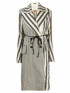 Ann Demeulemeester contrast panel striped coat - Neutrals
