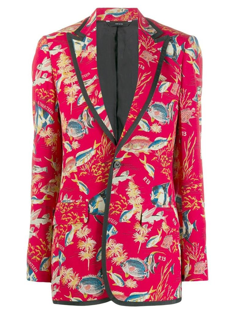 R13 fish print blazer - Red