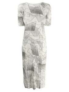 Pleats Please By Issey Miyake printed plissé dress - White