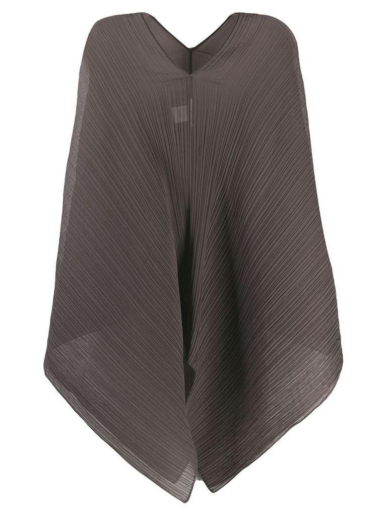 Pleats Please By Issey Miyake plissé poncho - Grey