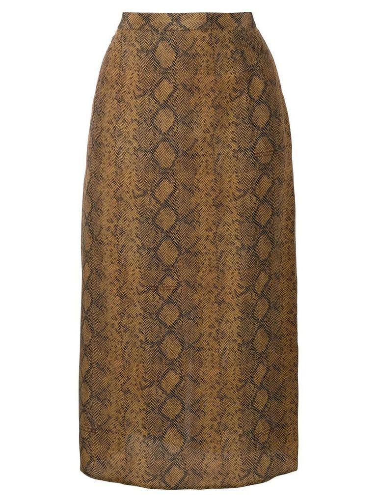 Rokh snakeskin effect midi skirt - Brown