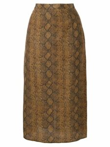Rokh snakeskin effect midi skirt - Brown