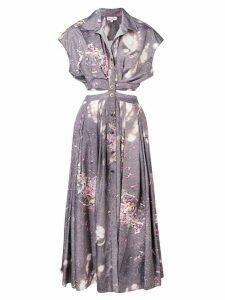 Natasha Zinko open waist printed shirt dress - Grey