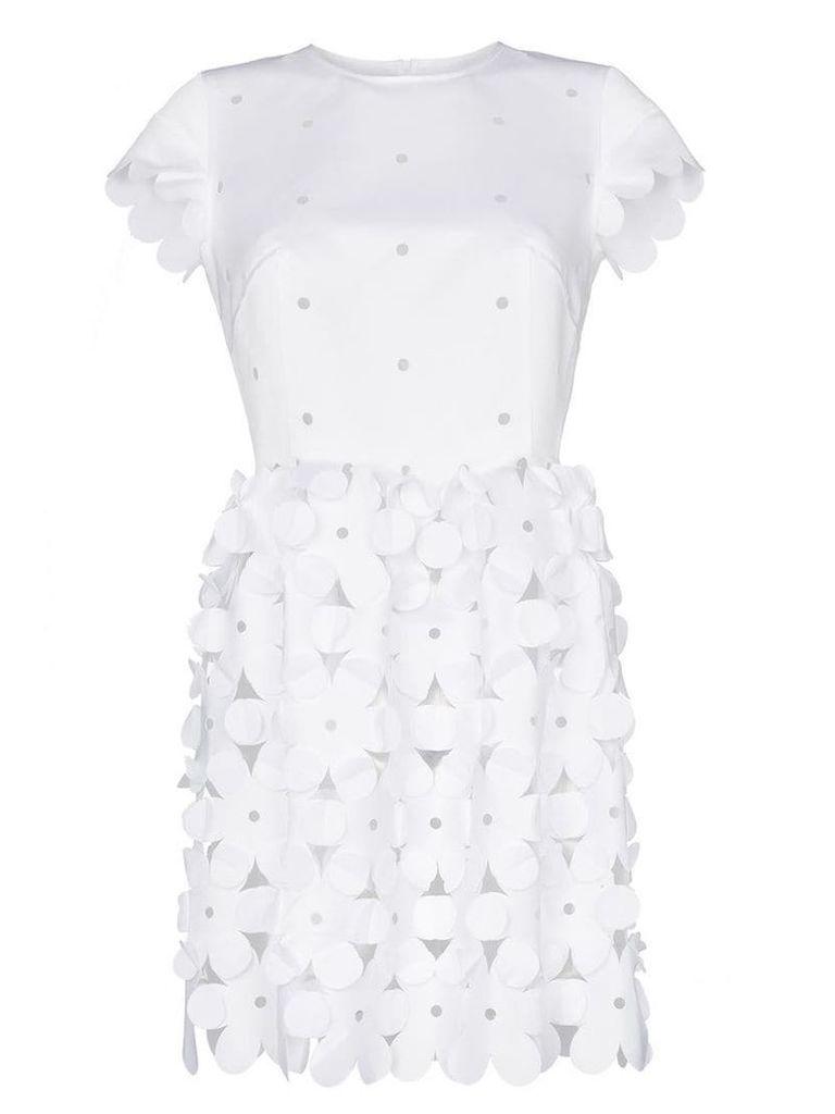 Paskal lasercut floral mini dress - White
