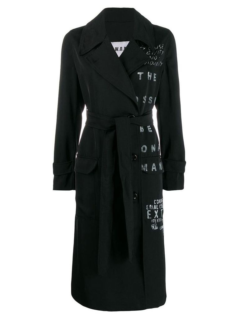 S.W.O.R.D 6.6.44 printed trench coat - Black