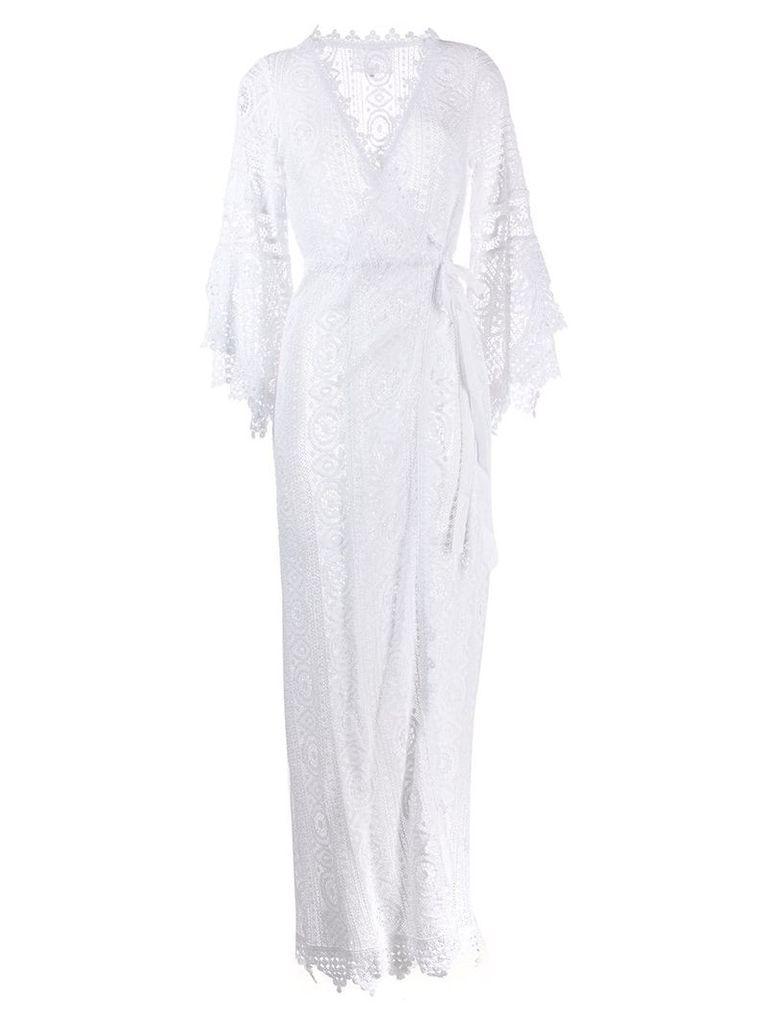 Temptation Positano embroidered wrap maxi dress - White