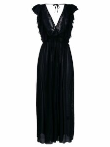 Fisico ruffle-trimmed long dress - Black