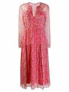 Saloni small floral print dress - Red