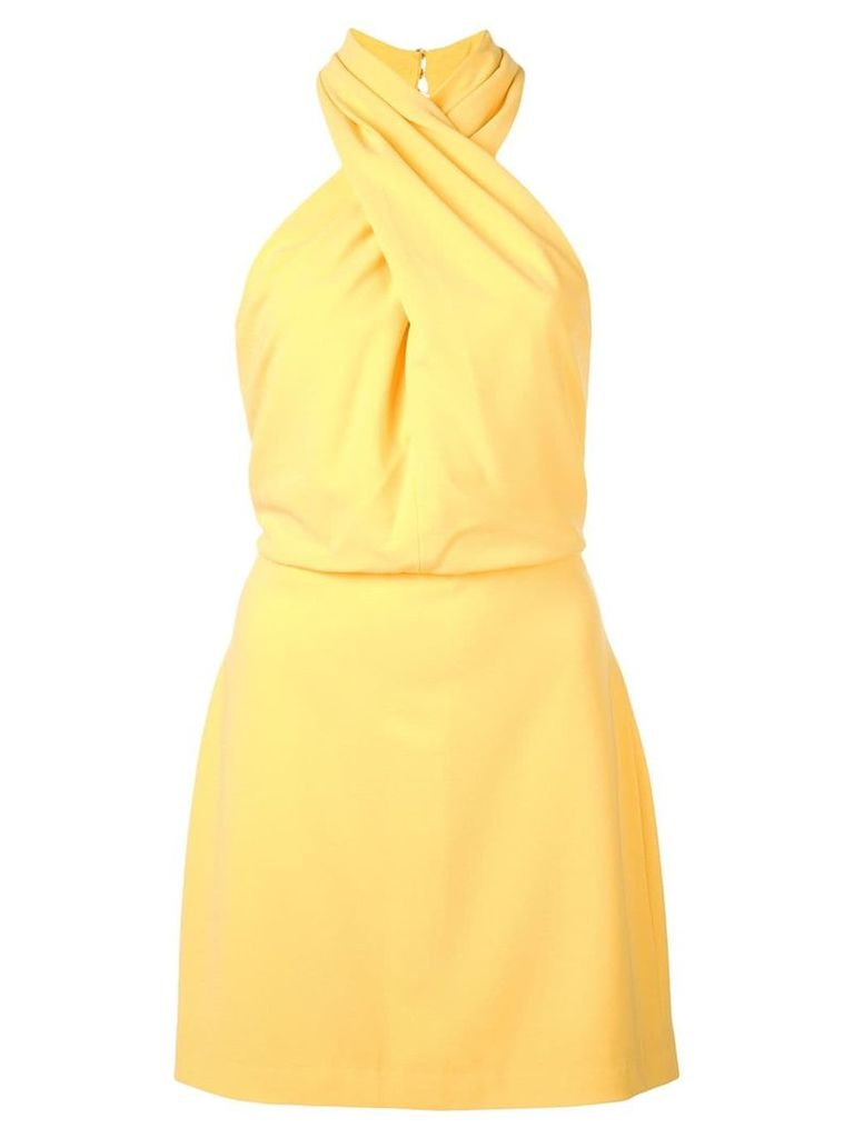 Halston Heritage fitted crossneck dress - Yellow