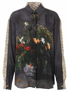 Burberry Floral And Leopard Print Silk Shirt - Black