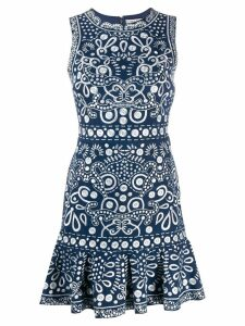 Alice+Olivia embroidered fitted dress - Blue