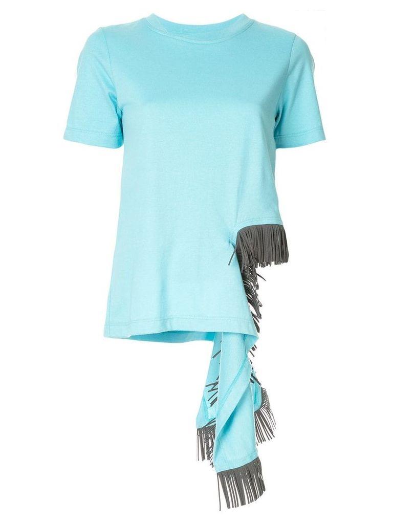 Facetasm fringe embellished T-shirt - Blue