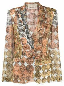 Roberto Cavalli coin print blazer - Neutrals