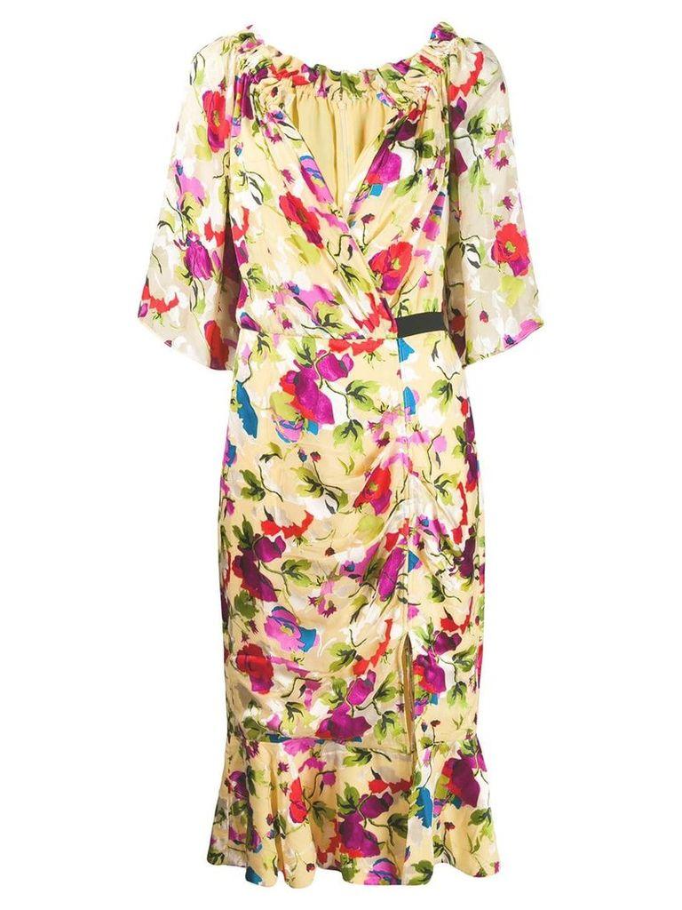 Saloni floral shift midi dress - Yellow