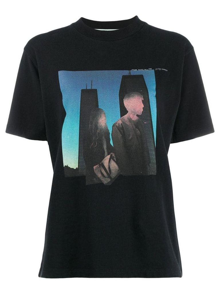 Off-White couples print T-shirt - Black