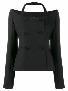 Rokh off shoulder double-breasted blazer - Black