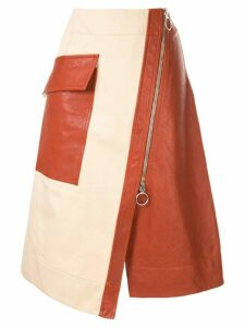 Cédric Charlier front zipped skirt - Brown